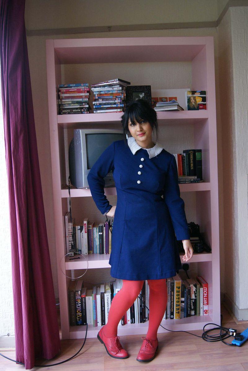 Blue dress white collar