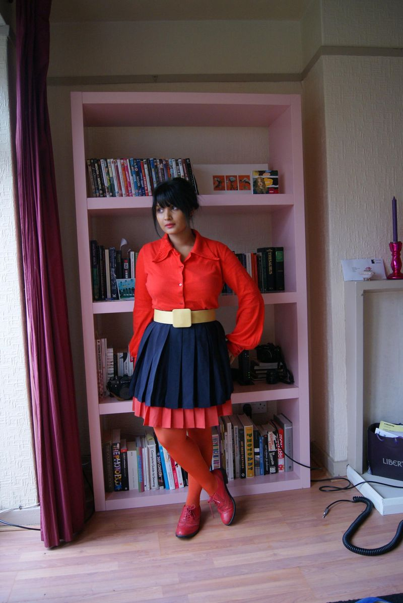 Navy and red skirt