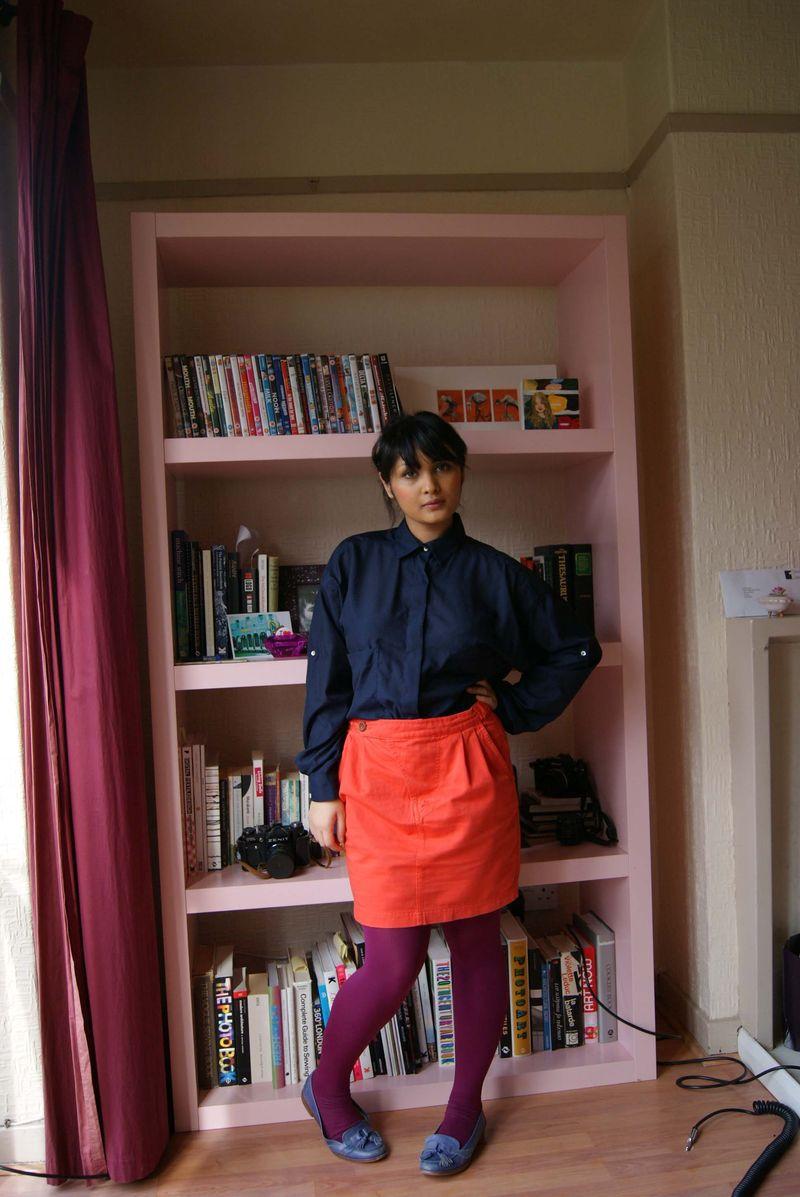 Orange denim skirt