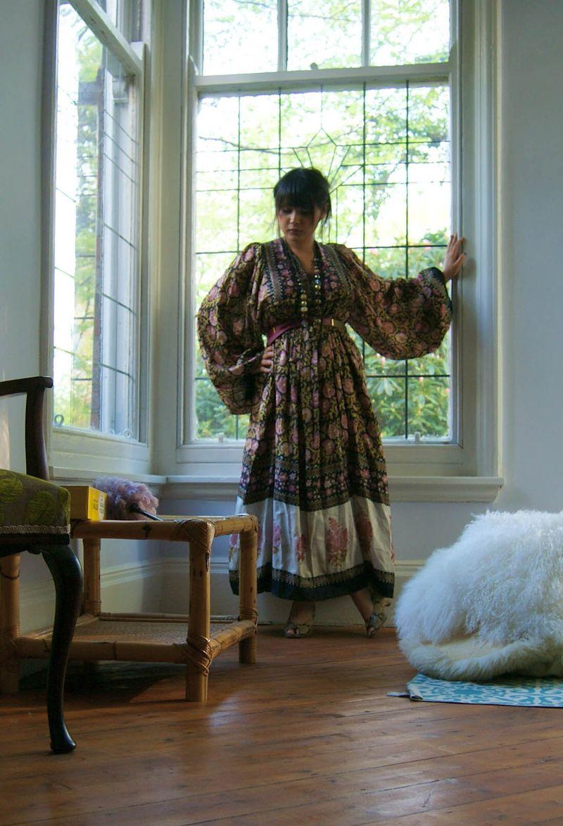 Silk dress, snake wedges
