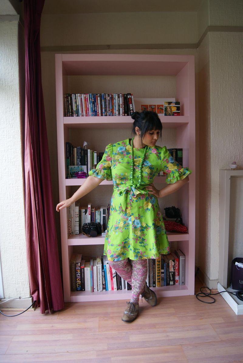 60's green mini dress