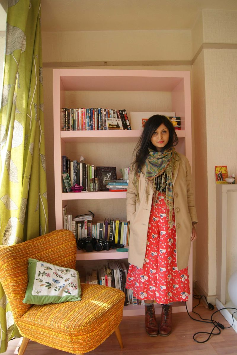 Pea coat and red flowey culottes